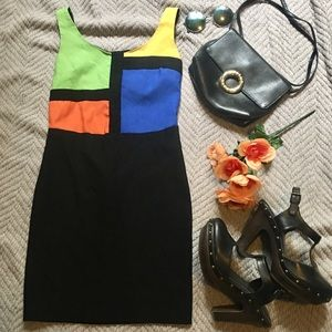 VTG 90s Color Blocked Mini Dress.